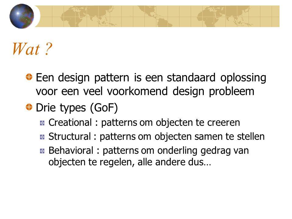 Wat ? Een design pattern is een standaard oplossing voor een veel voorkomend design probleem Drie types (GoF) Creational : patterns om objecten te cre