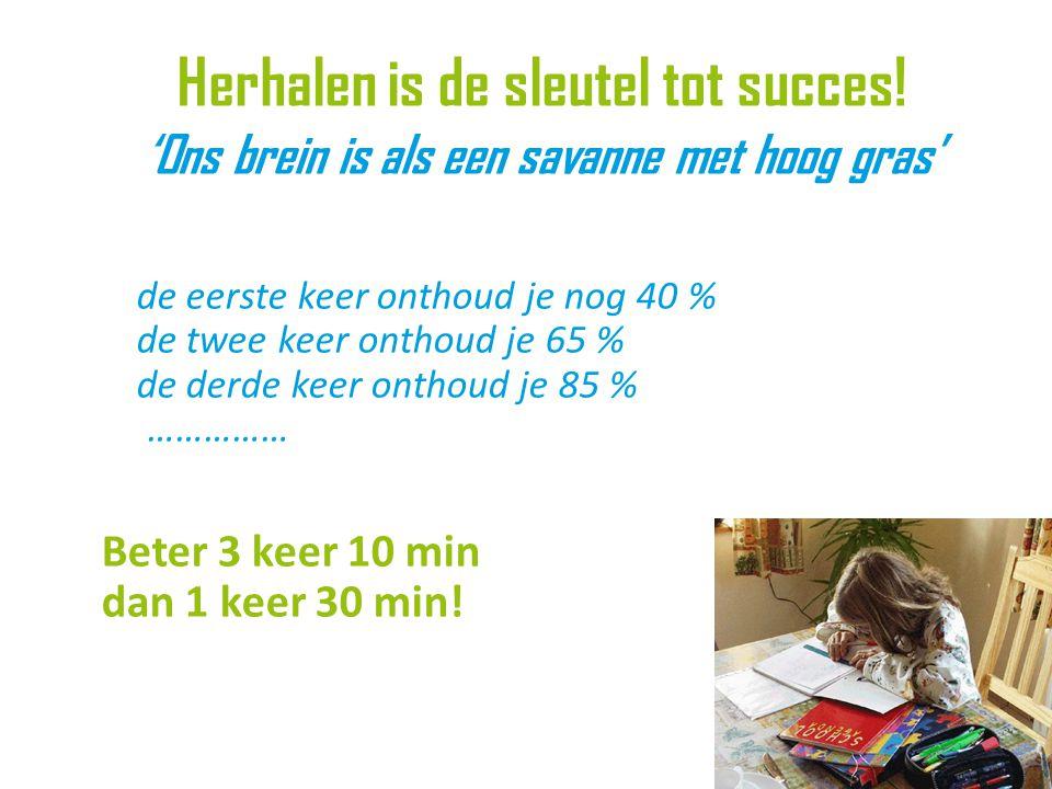 de eerste keer onthoud je nog 40 % de twee keer onthoud je 65 % de derde keer onthoud je 85 % …………… Beter 3 keer 10 min dan 1 keer 30 min.