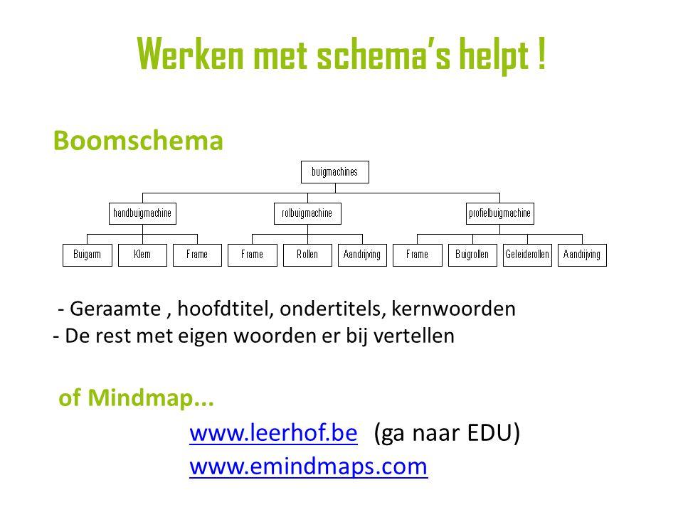 Boomschema - Geraamte, hoofdtitel, ondertitels, kernwoorden - De rest met eigen woorden er bij vertellen of Mindmap...
