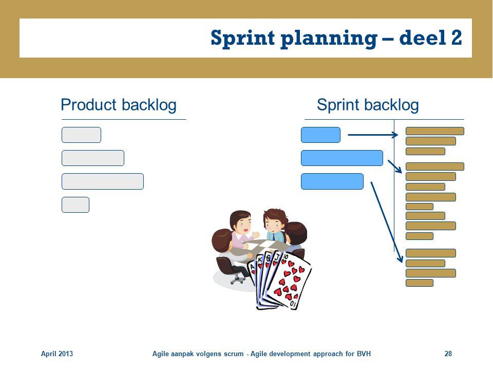 Sprint planning – deel 2 April 2013Agile aanpak volgens scrum - Agile development approach for BVH28 Product backlogSprint backlog