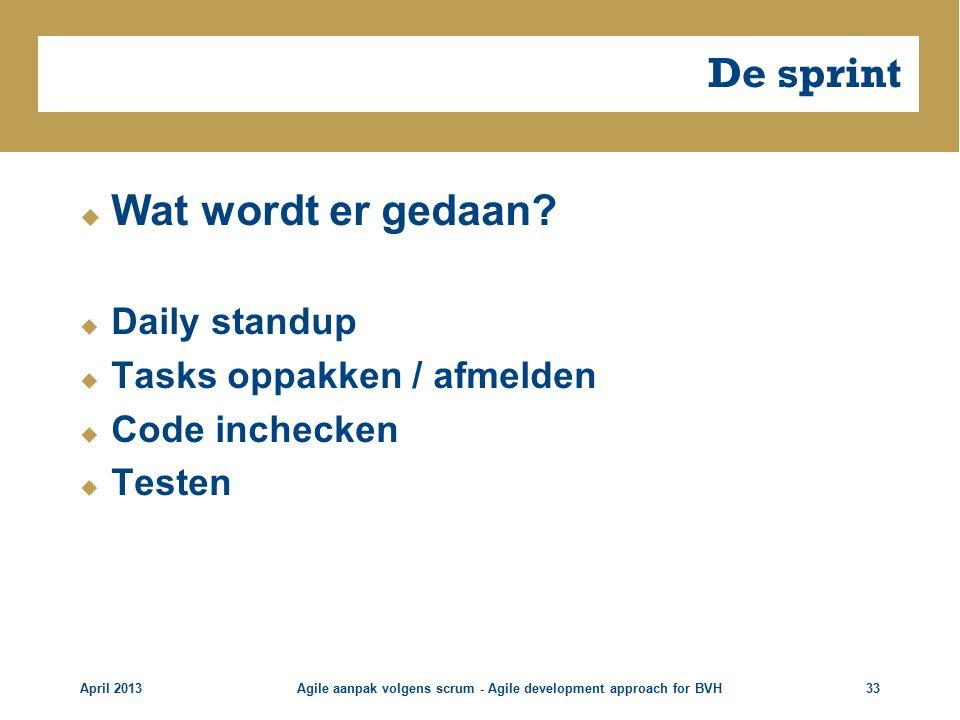 De sprint  Wat wordt er gedaan.