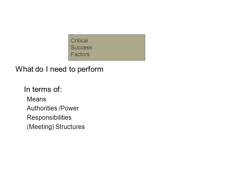 What do I need to perform In terms of: Means Authorities /Power Responsibilities (Meeting) Structures Critical Success Factors