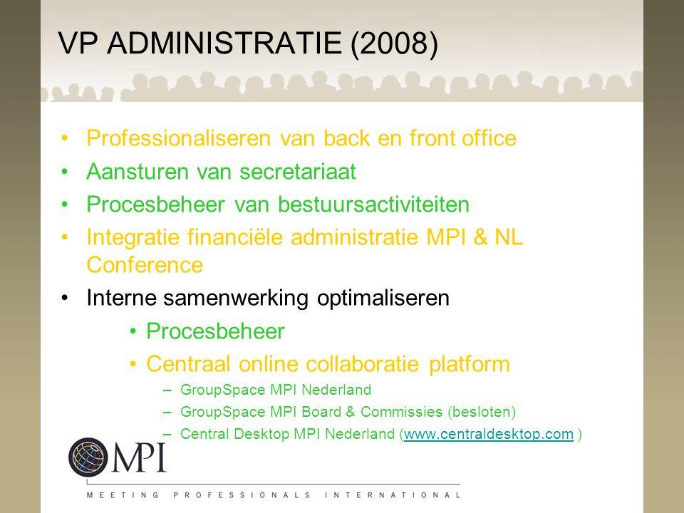 VP ADMINISTRATIE (2008) Professionaliseren van back en front office Aansturen van secretariaat Procesbeheer van bestuursactiviteiten Integratie financ