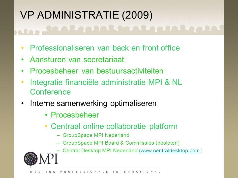 VP ADMINISTRATIE (2009) Professionaliseren van back en front office Aansturen van secretariaat Procesbeheer van bestuursactiviteiten Integratie financ