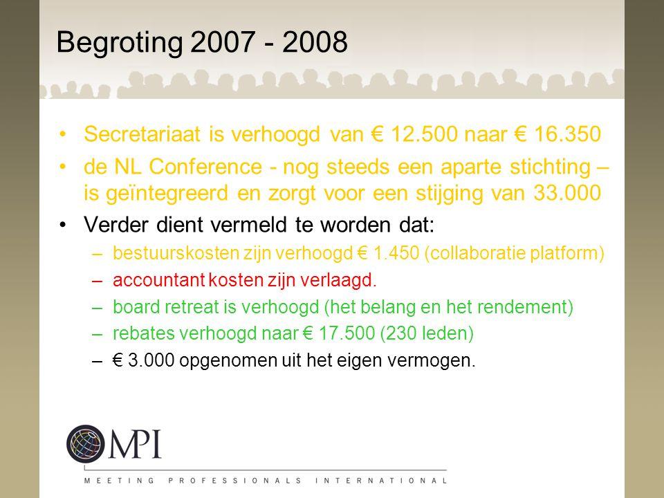 Begroting 2007 - 2008 Secretariaat is verhoogd van € 12.500 naar € 16.350 de NL Conference - nog steeds een aparte stichting – is geïntegreerd en zorg
