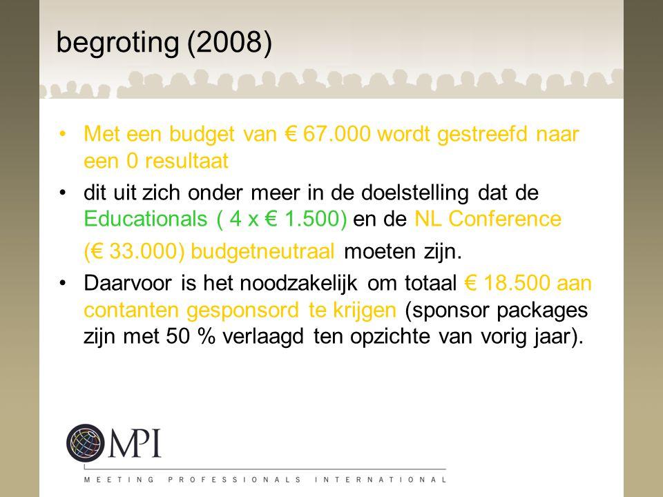 begroting (2008) Met een budget van € 67.000 wordt gestreefd naar een 0 resultaat dit uit zich onder meer in de doelstelling dat de Educationals ( 4 x