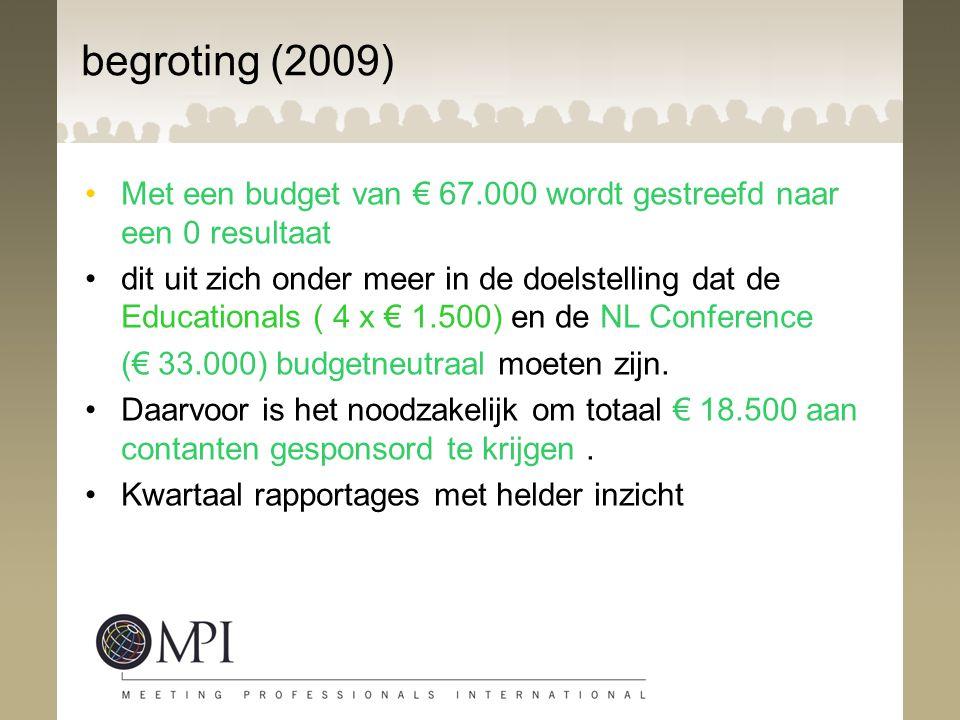begroting (2009) Met een budget van € 67.000 wordt gestreefd naar een 0 resultaat dit uit zich onder meer in de doelstelling dat de Educationals ( 4 x