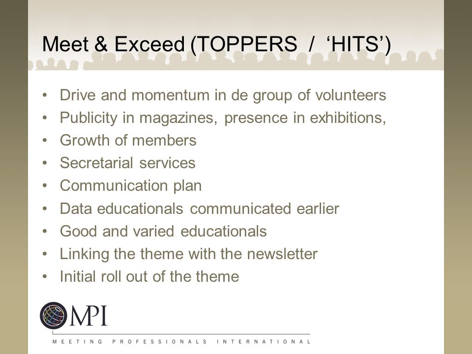 Meet & Exceed (TOPPERS / 'HITS') Drive and momentum in de group of volunteers Publicity in magazines, presence in exhibitions, Growth of members Secretarial services Communication plan Data educationals communicated earlier Good and varied educationals Linking the theme with the newsletter Initial roll out of the theme