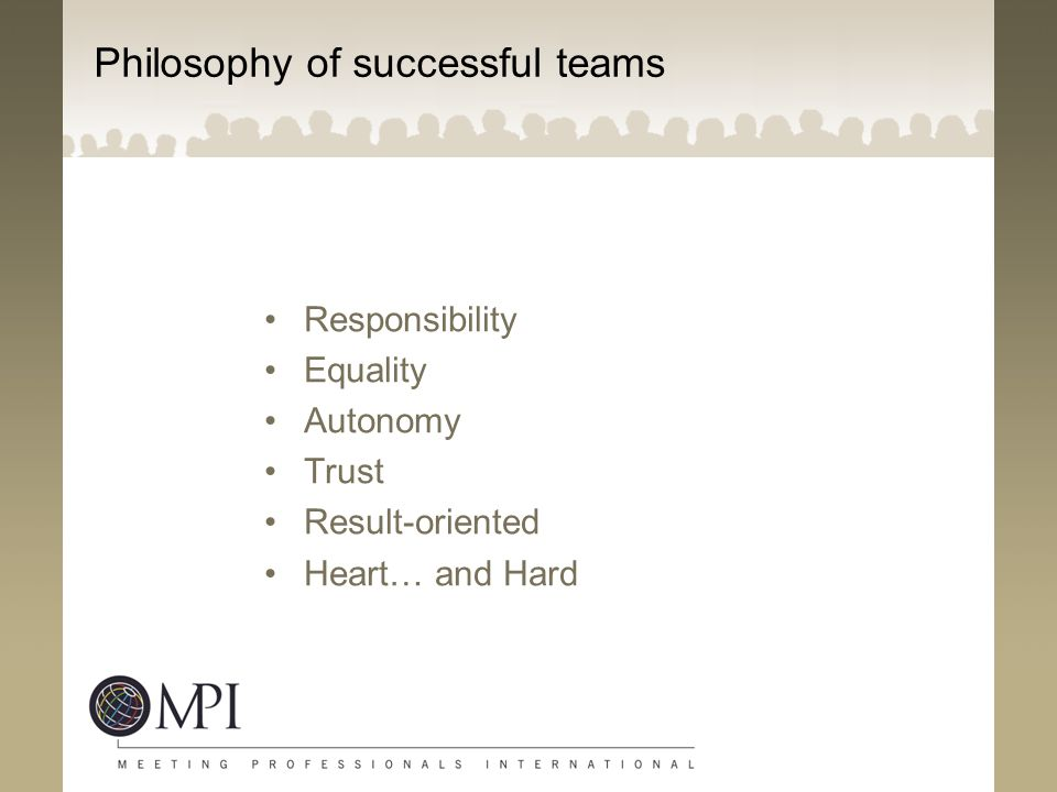 Philosophy of successful teams Responsibility Equality Autonomy Trust Result-oriented Heart… and Hard