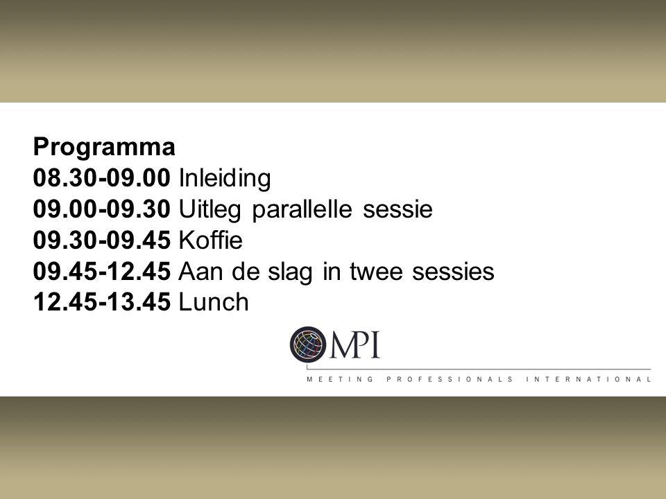 Programma 08.30-09.00 Inleiding 09.00-09.30 Uitleg parallelle sessie 09.30-09.45 Koffie 09.45-12.45 Aan de slag in twee sessies 12.45-13.45 Lunch