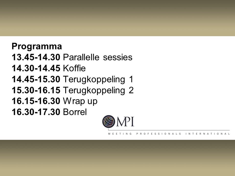 Programma 13.45-14.30 Parallelle sessies 14.30-14.45 Koffie 14.45-15.30 Terugkoppeling 1 15.30-16.15 Terugkoppeling 2 16.15-16.30 Wrap up 16.30-17.30