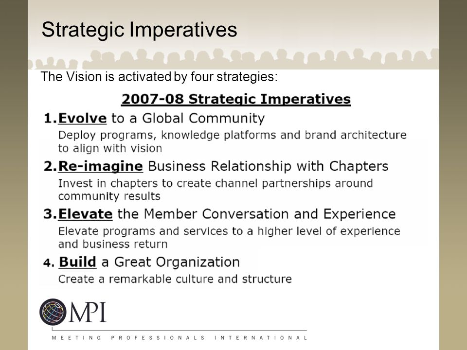 02:37 Strategic Imperatives The Vision is activated by four strategies: