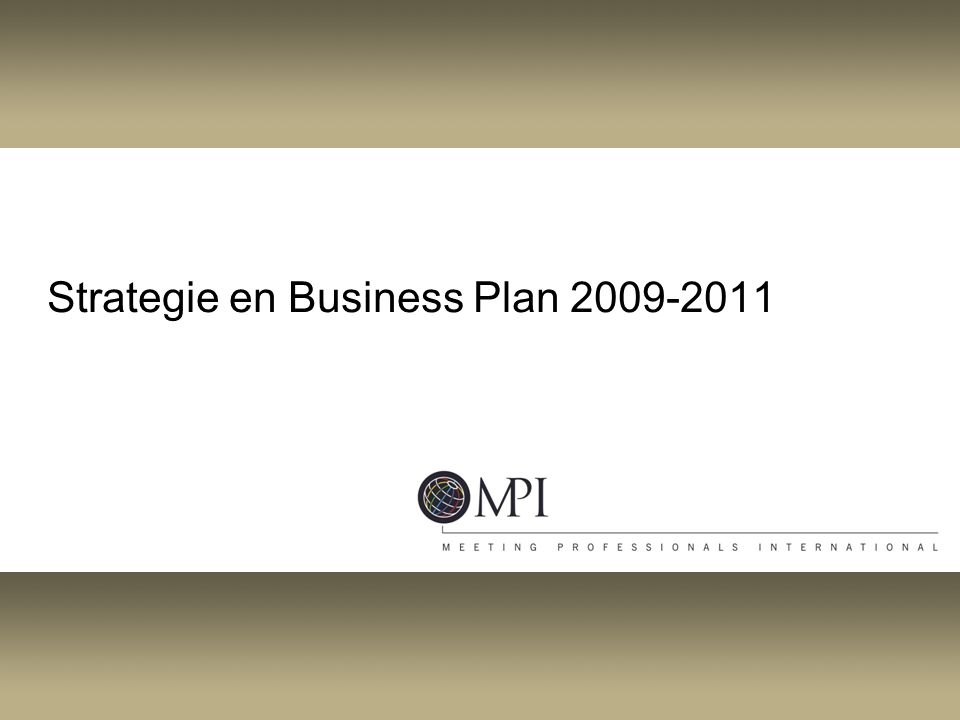 Strategie en Business Plan 2009-2011