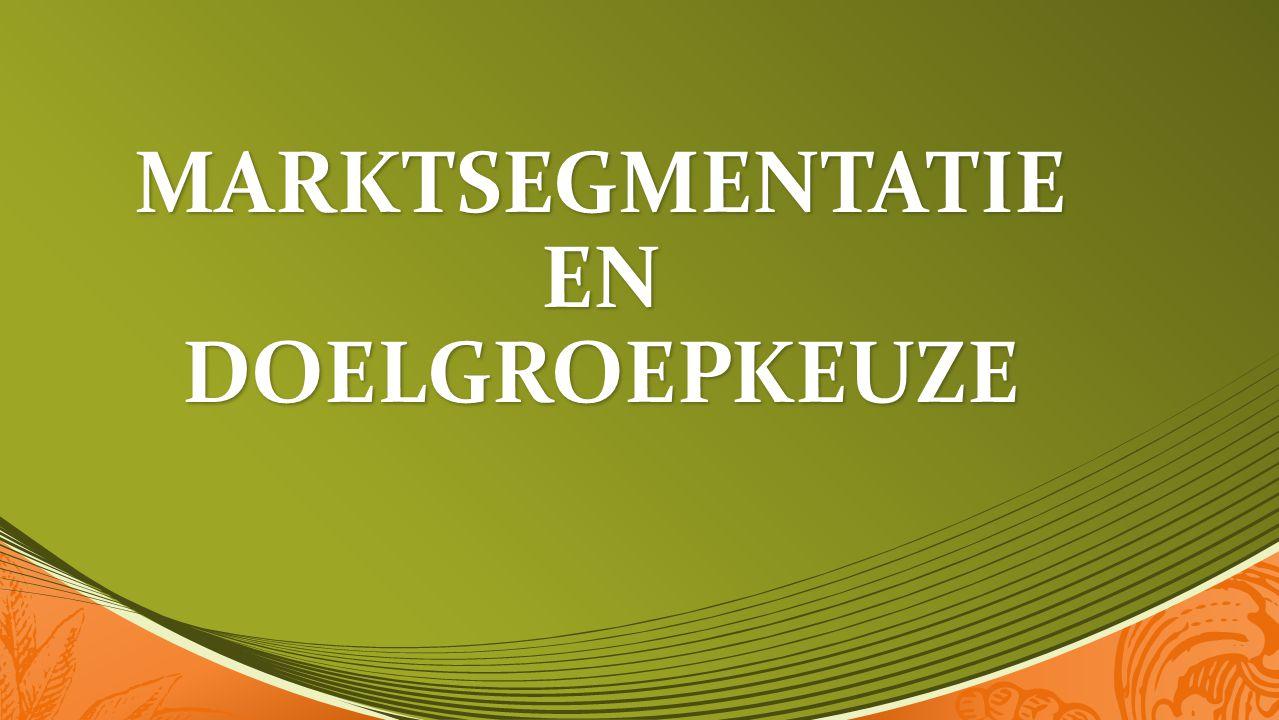 MARKTBEWERKINGSSTRATEGIE Massa- marketing Product- differentiatie Markt- segmentatie Geschiedenis :