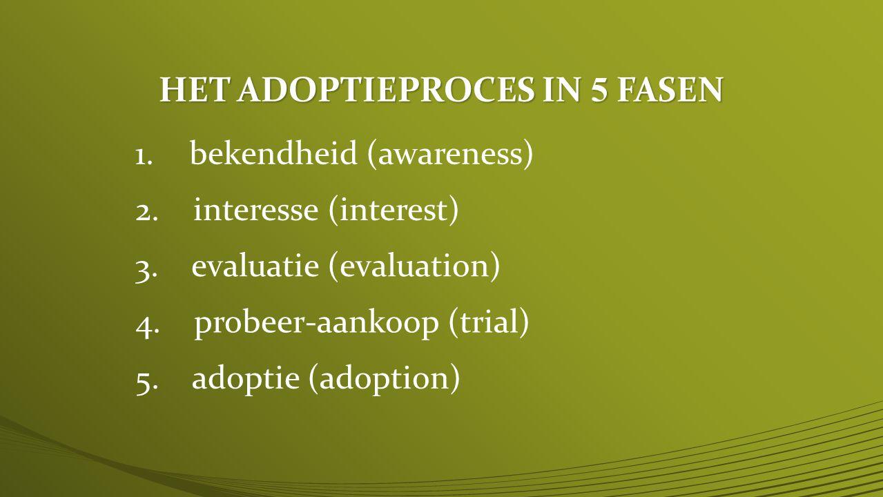 HET ADOPTIEPROCES IN 5 FASEN 1.bekendheid (awareness) 2.
