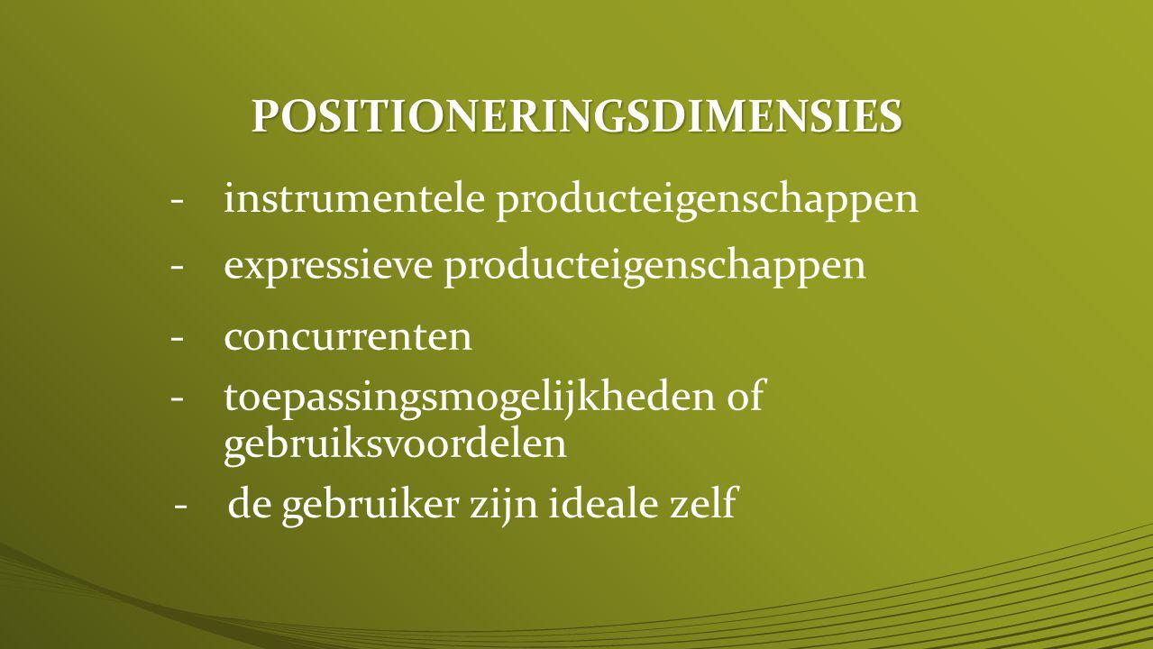 POSITIONERINGSDIMENSIES -instrumentele producteigenschappen -expressieve producteigenschappen -concurrenten -toepassingsmogelijkheden of gebruiksvoordelen -de gebruiker zijn ideale zelf