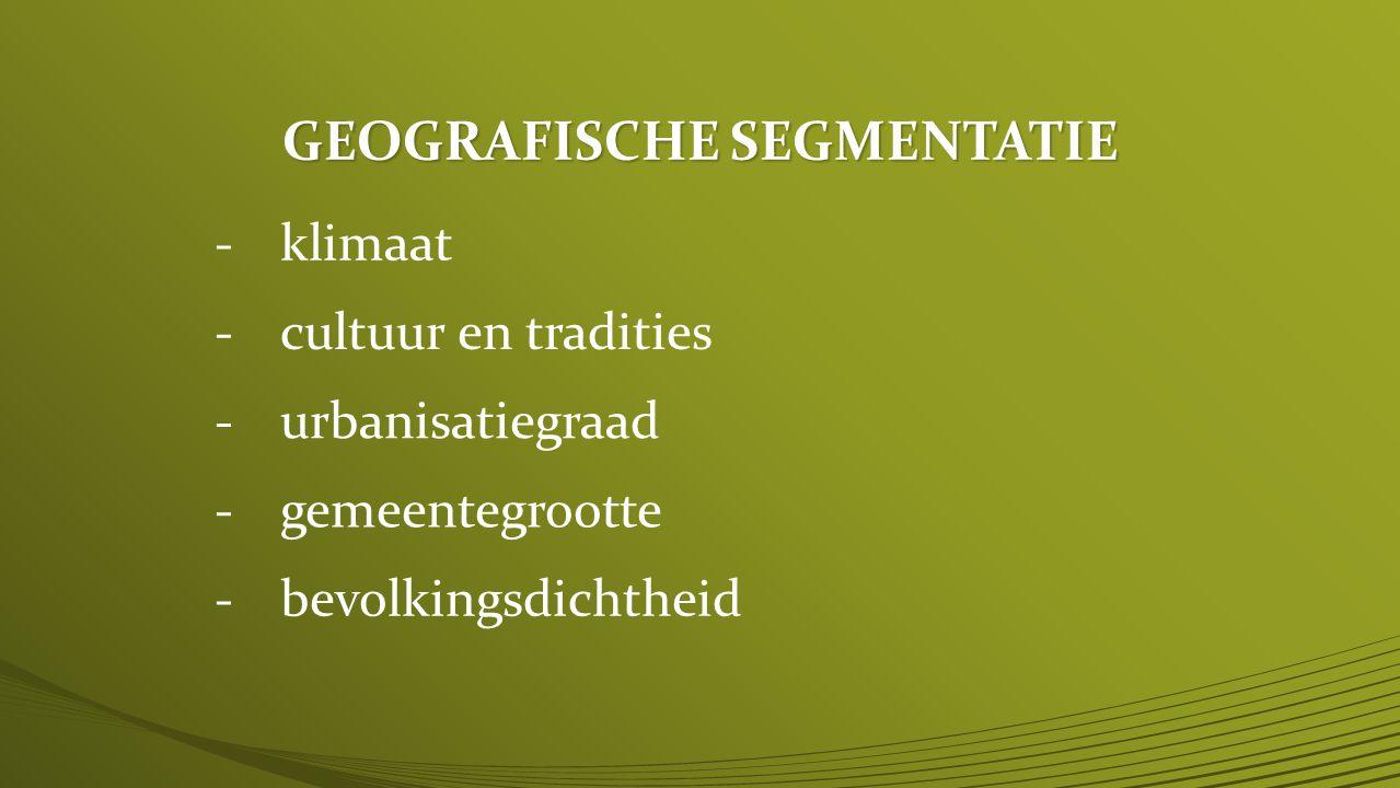 GEOGRAFISCHE SEGMENTATIE -klimaat -cultuur en tradities -urbanisatiegraad -gemeentegrootte -bevolkingsdichtheid