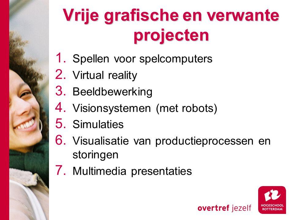 Vrije grafische en verwante projecten Vrije grafische en verwante projecten 1. Spellen voor spelcomputers 2. Virtual reality 3. Beeldbewerking 4. Visi