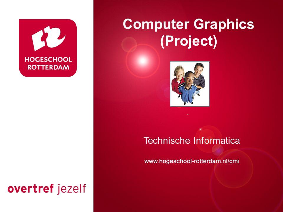 Grafische projecten Grafische projecten Verplicht project (2 ects):Tircgr02 Interactief ontwerp met OpenGL Gekoppeld aan inleiding grafische computertechnieken' Werken in groepen van 2 tot 3 personen, opdelen in deelproblemen Projectvoorstel indienen