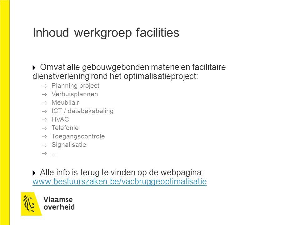 Inhoud werkgroep facilities Omvat alle gebouwgebonden materie en facilitaire dienstverlening rond het optimalisatieproject: Planning project Verhuispl