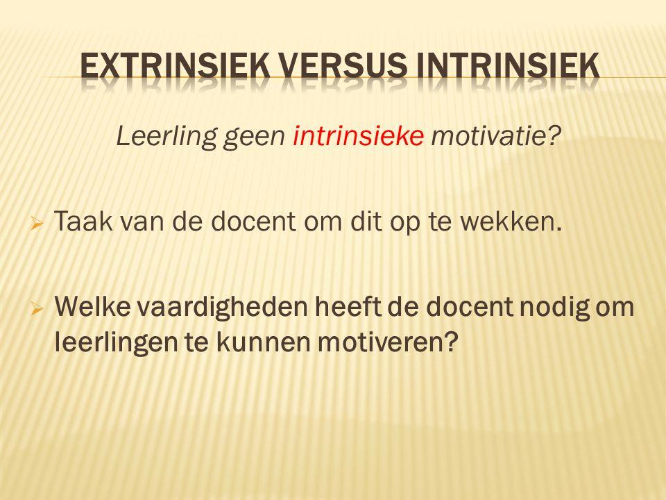 Leerling geen intrinsieke motivatie?  Taak van de docent om dit op te wekken.  Welke vaardigheden heeft de docent nodig om leerlingen te kunnen moti