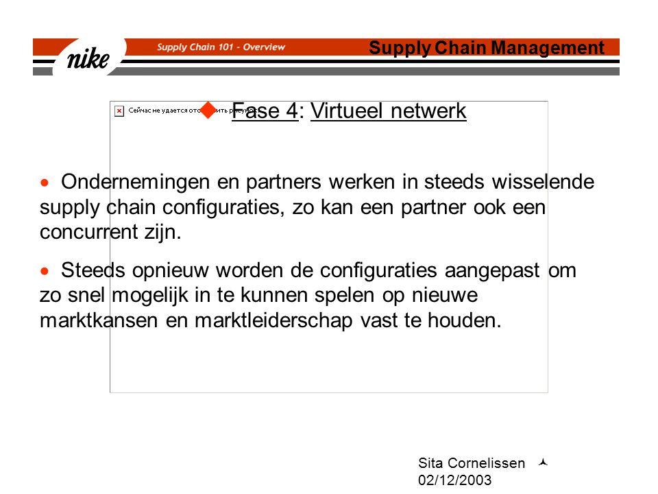 Sita Cornelissen 02/12/2003  Fase 4: Virtueel netwerk Supply Chain Management  Ondernemingen en partners werken in steeds wisselende supply chain configuraties, zo kan een partner ook een concurrent zijn.