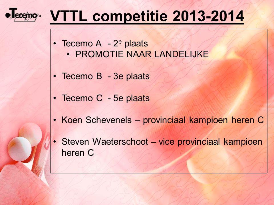 VTTL competitie 2013-2014 Tecemo A - 2 e plaats PROMOTIE NAAR LANDELIJKE Tecemo B- 3e plaats Tecemo C - 5e plaats Koen Schevenels – provinciaal kampio