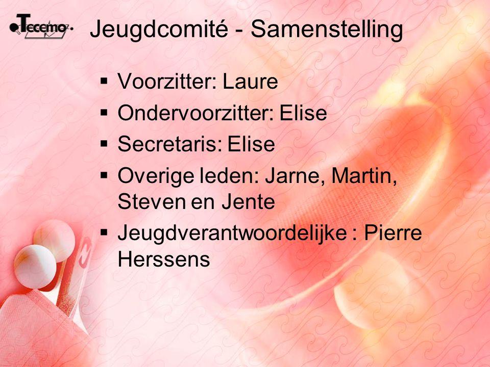 Jeugdcomité - Samenstelling  Voorzitter: Laure  Ondervoorzitter: Elise  Secretaris: Elise  Overige leden: Jarne, Martin, Steven en Jente  Jeugdve