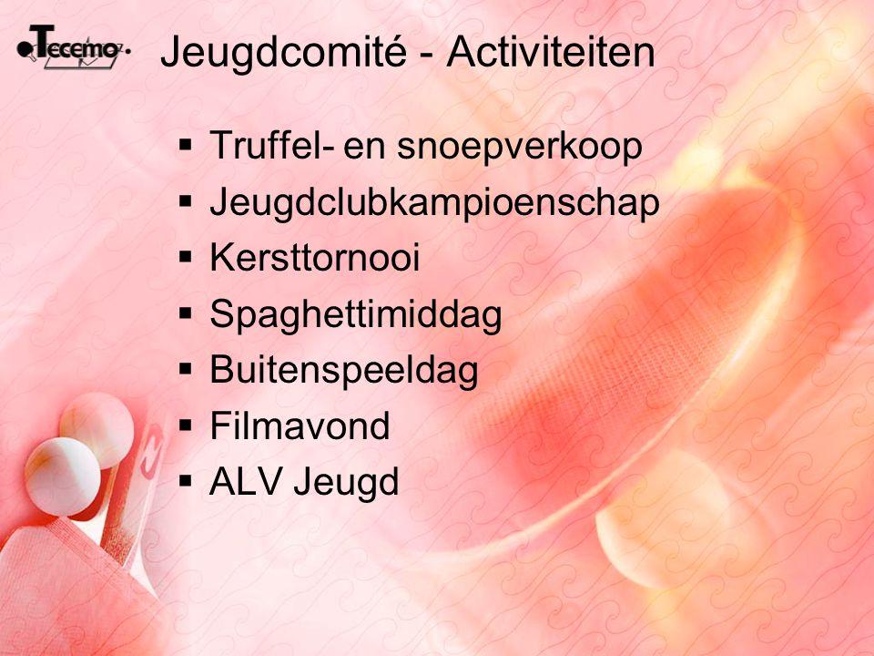 Jeugdcomité - Activiteiten  Truffel- en snoepverkoop  Jeugdclubkampioenschap  Kersttornooi  Spaghettimiddag  Buitenspeeldag  Filmavond  ALV Jeu