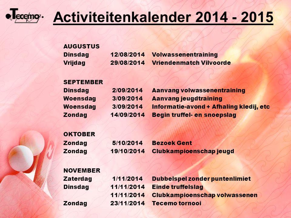 Activiteitenkalender 2014 - 2015 AUGUSTUS Dinsdag12/08/2014Volwassenentraining Vrijdag29/08/2014Vriendenmatch Vilvoorde SEPTEMBER Dinsdag2/09/2014Aanv