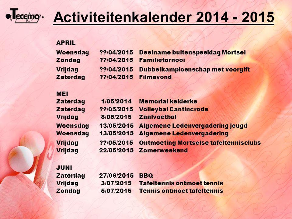 Activiteitenkalender 2014 - 2015 APRIL Woensdag??/04/2015Deelname buitenspeeldag Mortsel Zondag??/04/2015Familietornooi Vrijdag??/04/2015Dubbelkampioe