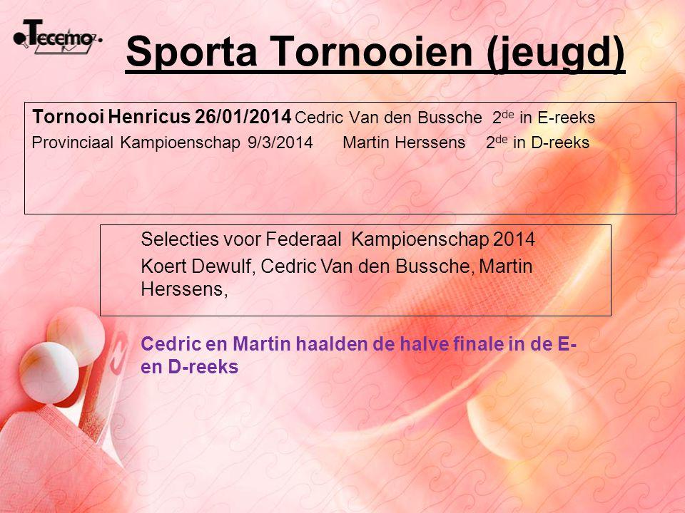 Sporta Tornooien (jeugd) Tornooi Henricus 26/01/2014 Cedric Van den Bussche 2 de in E-reeks Provinciaal Kampioenschap 9/3/2014 Martin Herssens 2 de in
