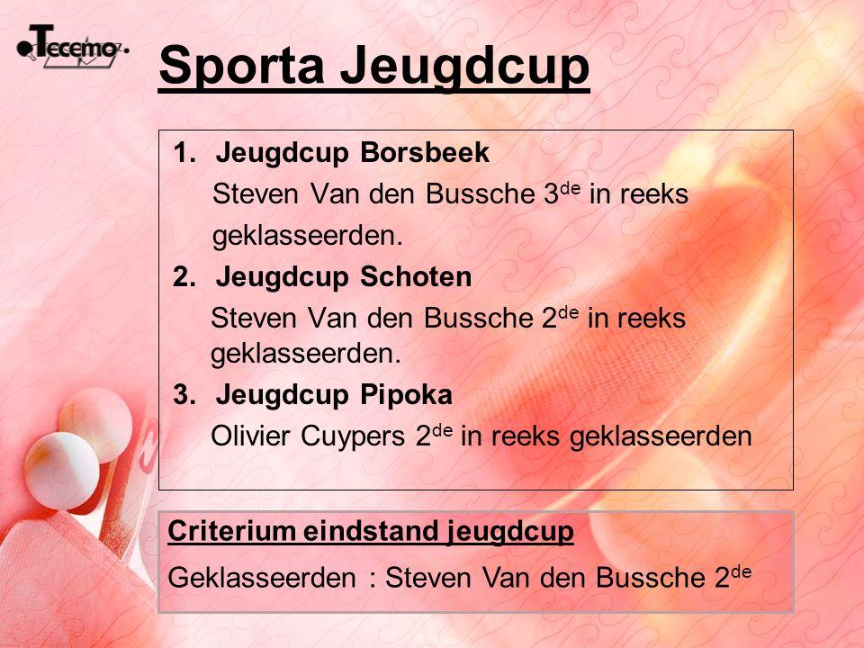 Sporta Jeugdcup 1.Jeugdcup Borsbeek Steven Van den Bussche 3 de in reeks geklasseerden. 2.Jeugdcup Schoten Steven Van den Bussche 2 de in reeks geklas