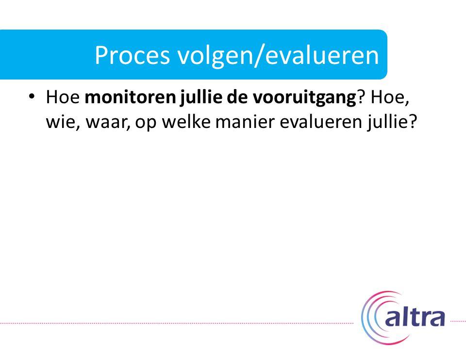 Proces volgen/evalueren Hoe monitoren jullie de vooruitgang? Hoe, wie, waar, op welke manier evalueren jullie?