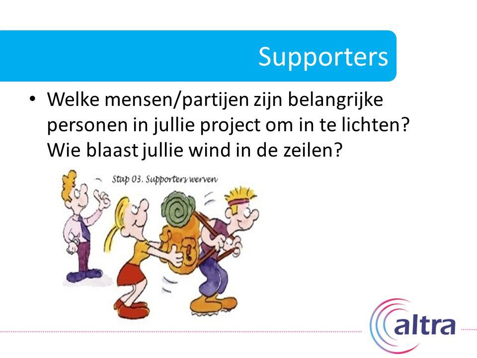 Supporters Welke mensen/partijen zijn belangrijke personen in jullie project om in te lichten? Wie blaast jullie wind in de zeilen?