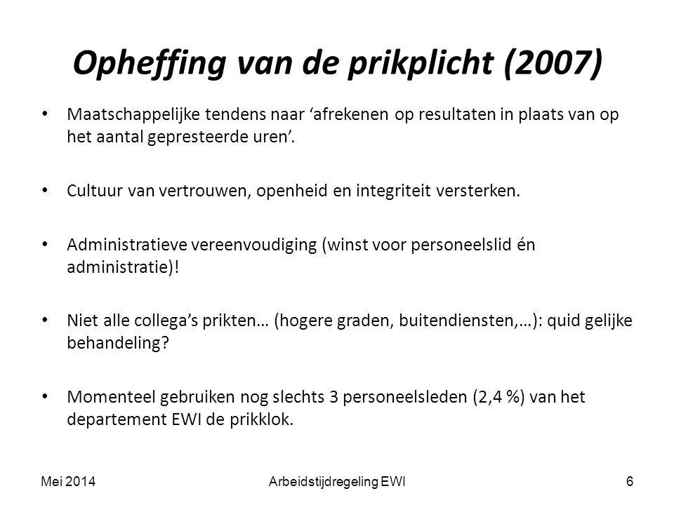 Opheffing van de prikplicht (2007) Maatschappelijke tendens naar 'afrekenen op resultaten in plaats van op het aantal gepresteerde uren'.