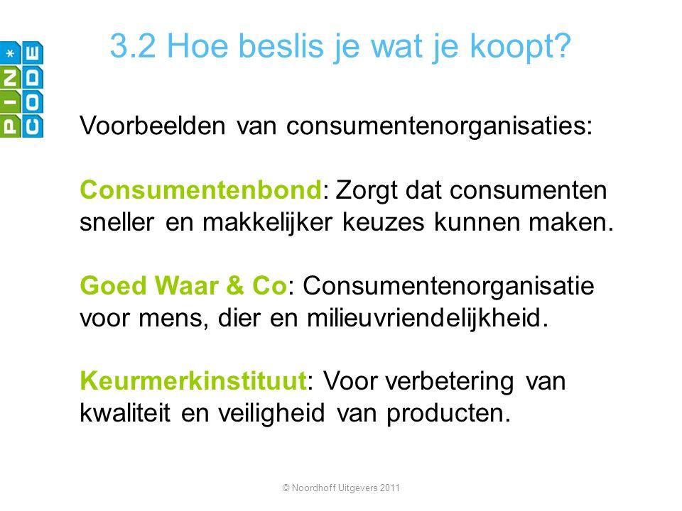 3.2 Hoe beslis je wat je koopt? Voorbeelden van consumentenorganisaties: Consumentenbond: Zorgt dat consumenten sneller en makkelijker keuzes kunnen m