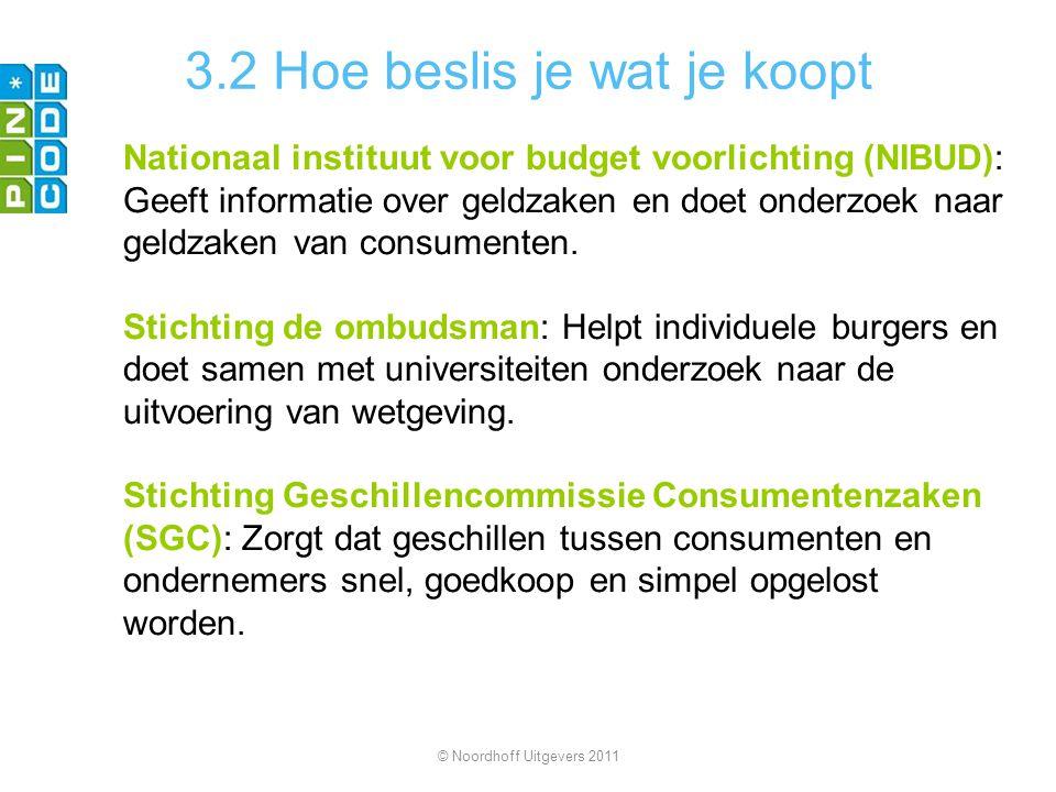 3.2 Hoe beslis je wat je koopt Nationaal instituut voor budget voorlichting (NIBUD): Geeft informatie over geldzaken en doet onderzoek naar geldzaken