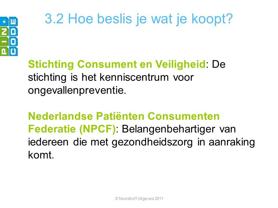 3.2 Hoe beslis je wat je koopt? Stichting Consument en Veiligheid: De stichting is het kenniscentrum voor ongevallenpreventie. Nederlandse Patiënten C