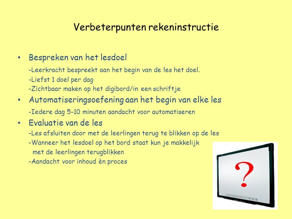 Verbeterpunten rekeninstructie Bespreken van het lesdoel -Leerkracht bespreekt aan het begin van de les het doel. -Liefst 1 doel per dag -Zichtbaar ma