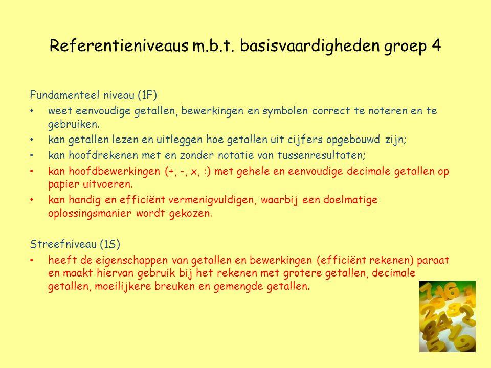 Referentieniveaus m.b.t. basisvaardigheden groep 4 Fundamenteel niveau (1F) weet eenvoudige getallen, bewerkingen en symbolen correct te noteren en te
