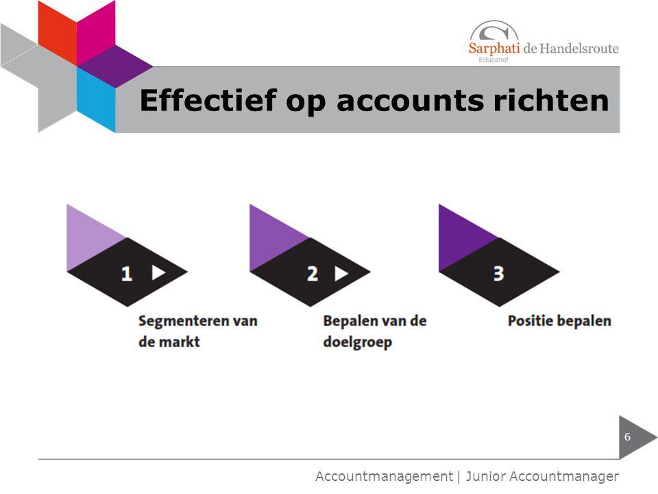 Effectief op accounts richten 6 Accountmanagement | Junior Accountmanager