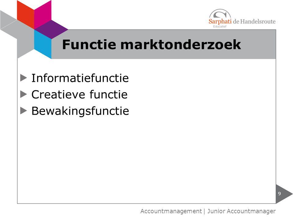 Informatiefunctie Creatieve functie Bewakingsfunctie 9 Accountmanagement | Junior Accountmanager Functie marktonderzoek