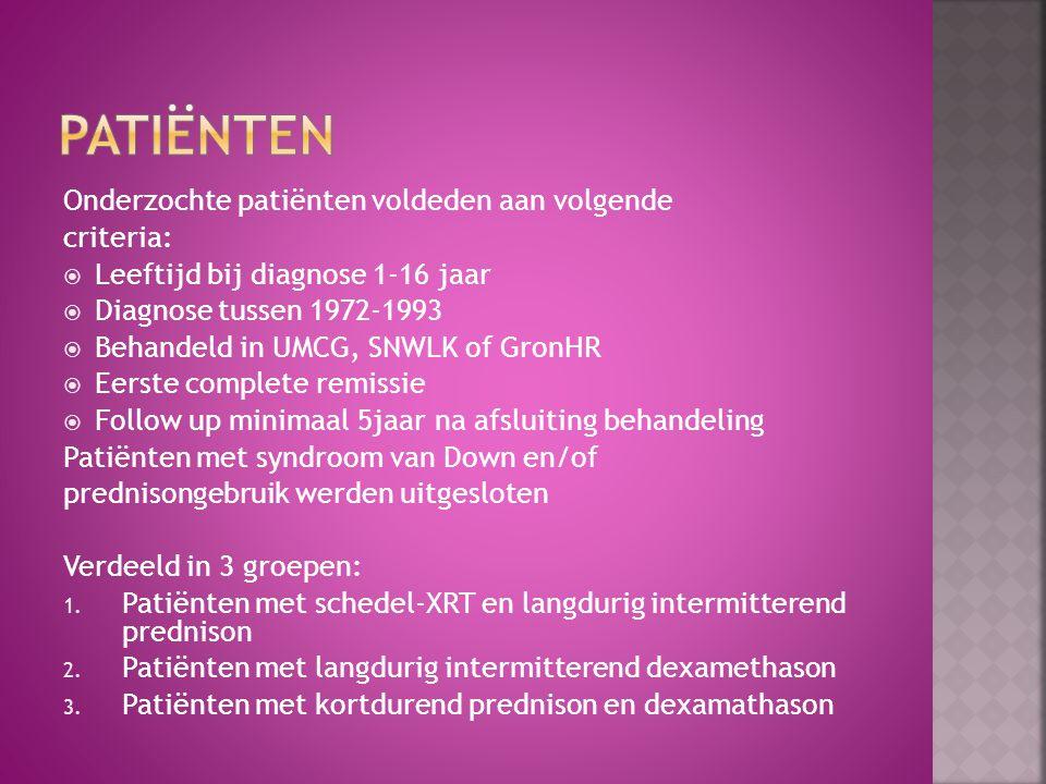 Onderzochte patiënten voldeden aan volgende criteria:  Leeftijd bij diagnose 1-16 jaar  Diagnose tussen 1972-1993  Behandeld in UMCG, SNWLK of Gron
