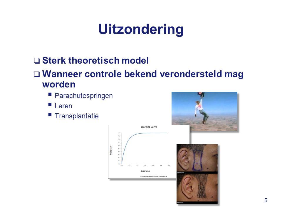 Uitzondering  Sterk theoretisch model  Wanneer controle bekend verondersteld mag worden  Parachutespringen  Leren  Transplantatie 5