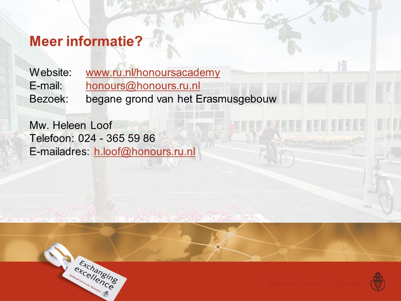 Meer informatie? Website: www.ru.nl/honoursacademy E-mail: honours@honours.ru.nl Bezoek: begane grond van het Erasmusgebouwwww.ru.nl/honoursacademyhon