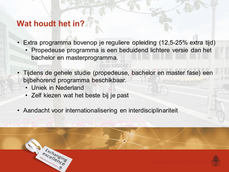 Wat houdt het in? Extra programma bovenop je reguliere opleiding (12,5-25% extra tijd) Propedeuse programma is een beduidend lichtere versie dan het b