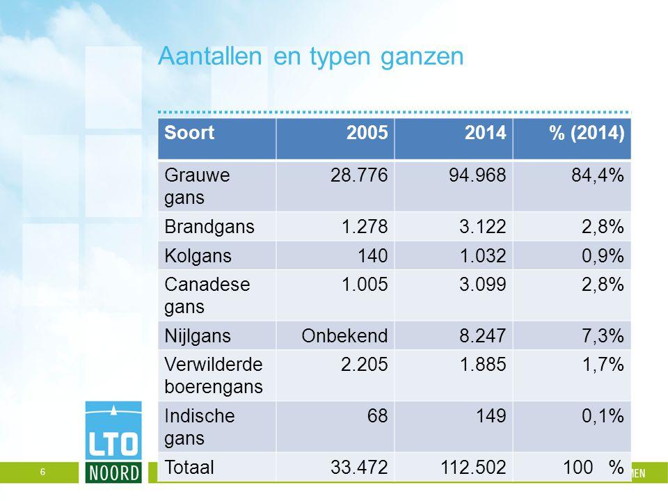 Aantallen en typen ganzen Soort20052014% (2014) Grauwe gans 28.776 94.96884,4% Brandgans 1.278 3.122 2,8% Kolgans 140 1.032 0,9% Canadese gans 1.005 3
