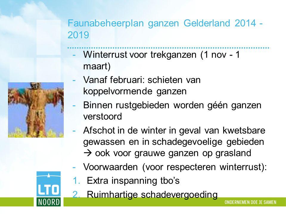 Extra inspanning tbo's Taakstelling voor de zomerperiode: 20% afschot bovenop oorspronkelijke getalsmatige reductie (grauwe ganzen) Zomer 2014: taakstelling net niet gehaald.