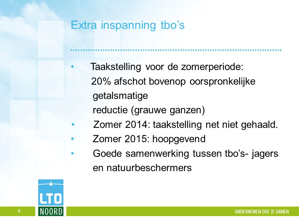 Extra inspanning tbo's Taakstelling voor de zomerperiode: 20% afschot bovenop oorspronkelijke getalsmatige reductie (grauwe ganzen) Zomer 2014: taakst